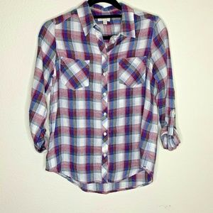 ❤️ Soft Joie XS 3/4 Cuffed Sleeve Plaid Shirt